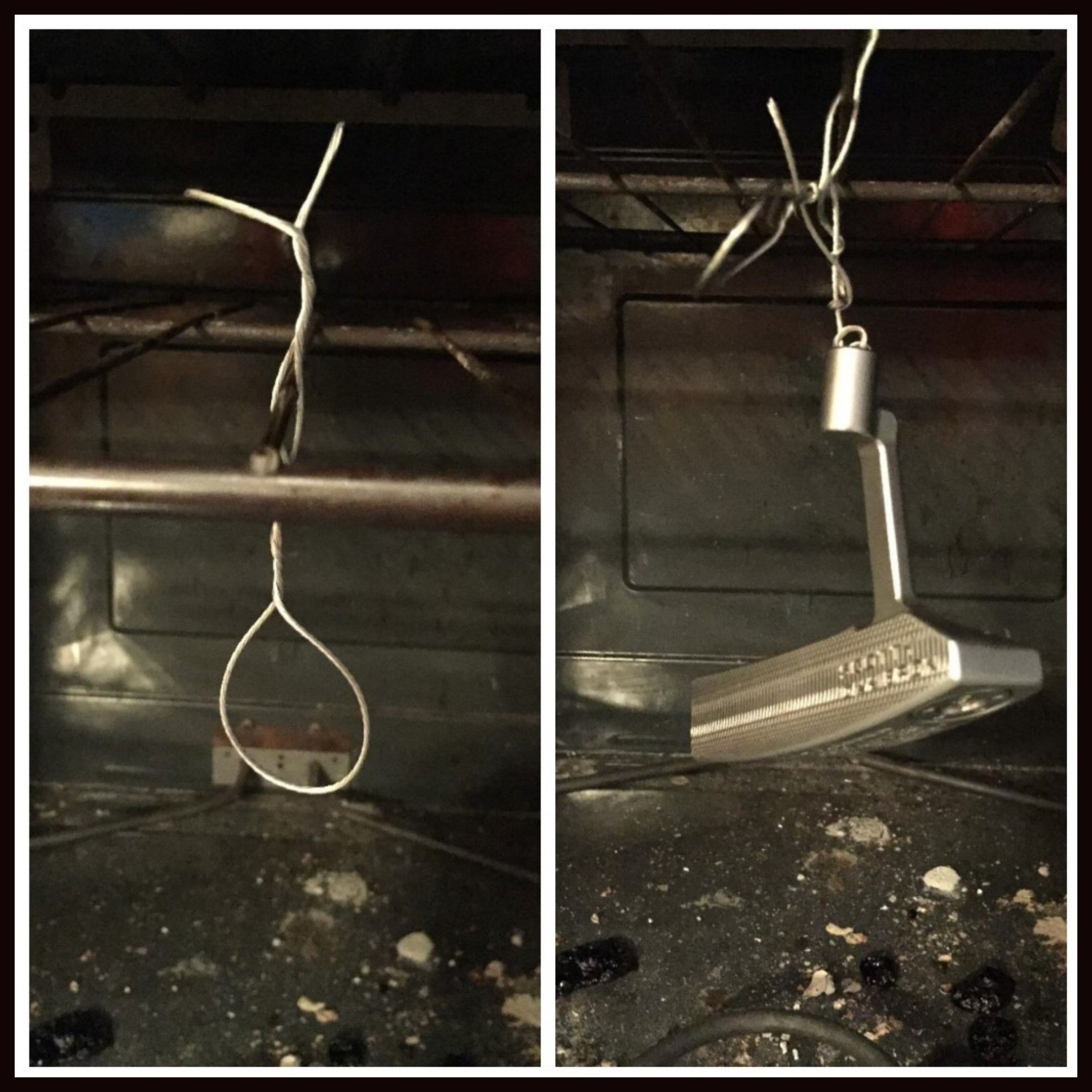 using hanging wire to hold putter up in oven